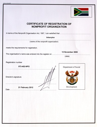 Inkanyiso - registration certificate (March 2012)