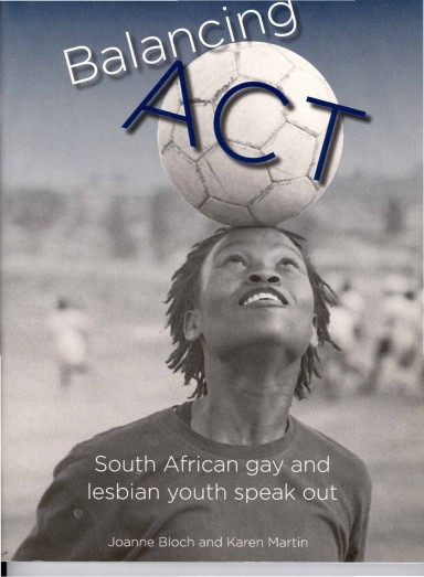 Balancing Act (2005) cover photo by Zanele Muholi. Book title named by Donna Smith & Zanele Muholi