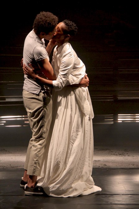 Mamela & Mojisola sharing the kiss during I Stand Corrected performance. Photo by Zanele Muholi (28.03.2013)