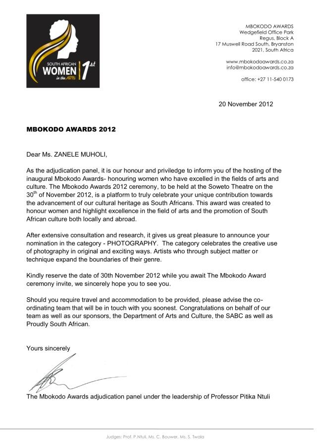 ZANELE MUHOLI Mbokodo nomination 1