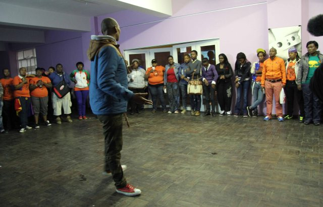 Thokozani Ndaba conducted a team building exercise during the 2013 IDAHOT event organized by Iranti