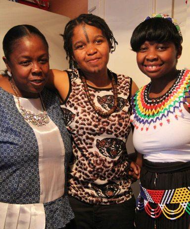 L-R: Zandile's mother, Dudu; Nqobile and Zandile