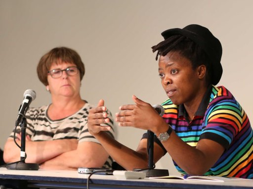 L-R: Ellen & Muholi talking at the Queer art & activism seminar. Photo by Maureen Velile Majola