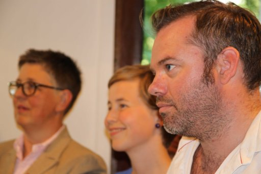 L - R: The three (3) presidents of member organisations who invited Inkanyiso.  Gro Lindstad (FOKUS); Anja Riise (SAIH) and Baard Nylund (LLH)