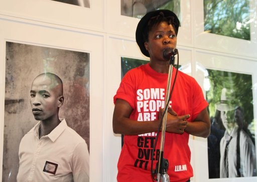 Muholi presenting Faces & Phases at the Kunstplass 5 on the 20th June 2013.  Photo by Marna of LLH