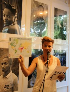 Vibekke, the co-owner of Kunstplass 5 at the opening of I See Rainbows exhibition. Photo by Marna