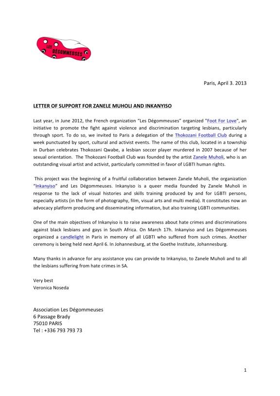 2013 April 3 Les Degommeuses _ Letter of support Inkanyiso