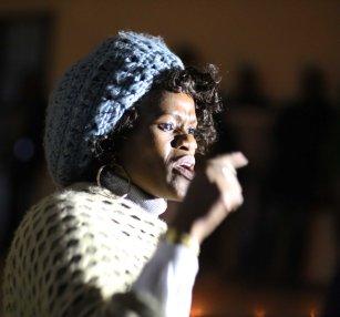 Nokhwezi Hoboyi (FEW) speaking out during the service