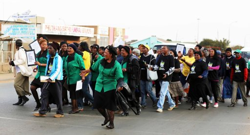 ANC Women's League passing Mpye street on way to the local Church Hall