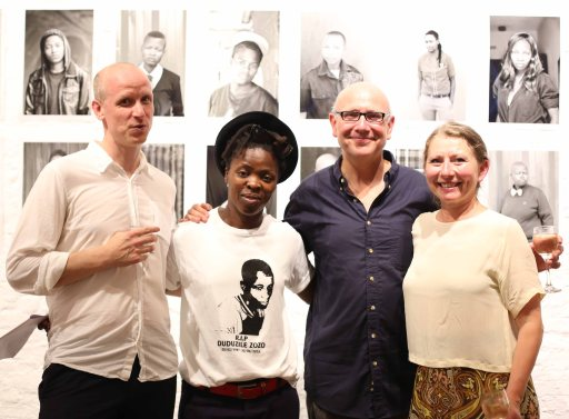 L-R:  The curator Bruno Devos, Zanele Muholi and the gallery owners Paul & Anne Verbeeck. Photo by Allain Six (26.07.2013)
