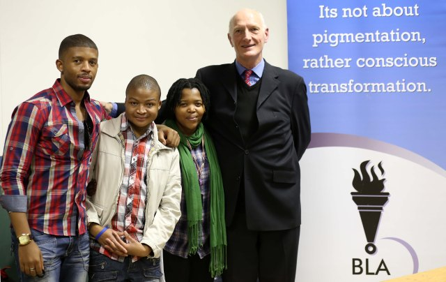After the Transformative policies for marginalized groups seminar conceptualized by Jeremiah in collaboration with Black Lawyers Association team at Wits University on the 24th July 2013.  L-R:  Dominic Khumalo (BLA), Jeremiah Sepotokele, Noma Phakade (GALA) and Chief Justice Edwin Cameron (Constitutional Court), Johannesburg.