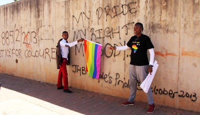 L-R:  Muntu Masombuka (EPOC) and Dikeledi Sibanda (FEW) outside Con Hill where the JhBPP was held. Photos by Nqobile Zungu (17.08.2013)
