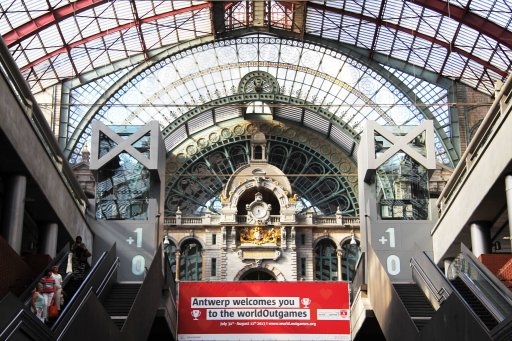 The WOGA banner at the Antwerp Central station. Photo by Zanele Muholi (04.08.2013)