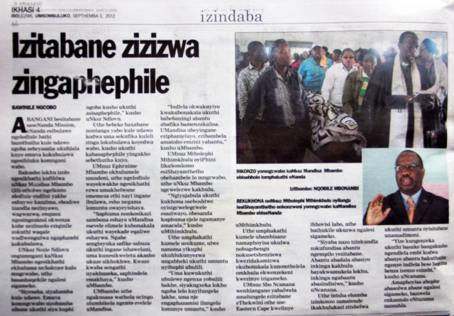 Isolezwe newspaper clipping featuring Mandisa Mbambo's murder.  Issued on 3rd  Sept. 2012