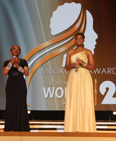 Our media personalities L-R:  Kgomotso Matsunyane & Kgopedi oa Namane presented the award to the winners
