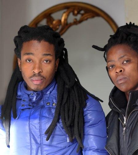 L-R: Themba Vilakazi & Zanele Muholi in Paris (4th Nov. 2013) by Zanele Muholi with RC6 remote control.