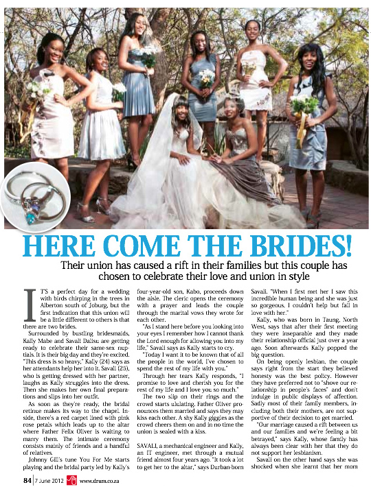 p.84 Drum magazine of 7th June 2012 featured the best wedding of Kally & Sam. Original source: DRUM