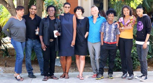 L-R: Carrie Mae Weems; Lyle Ashton Harris, John Akomfrah, Nana Adusei-Poku, Fussan; Robert; Zanele Muholi; Ingrid Mwangi and Xana Nyilenda at Pitzer College in LA.
