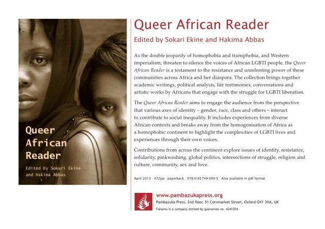 2013 Dec. 3:   Queer African Reader book