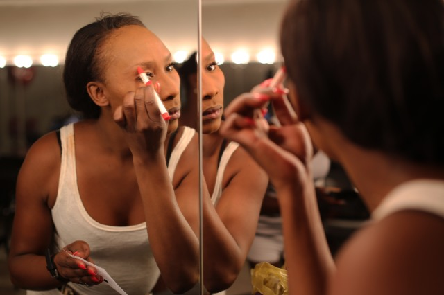 Timiko Xaba preparing herself backstage