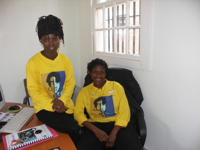 L-R:  Zanele Muholi & Donna A. Smith at the previous FEW offices, Women's Jail, Constitution Hill in Braamfontein. (6th Feb. 2006)