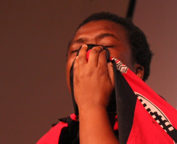 Nomagcina Shezi, shedding tears...