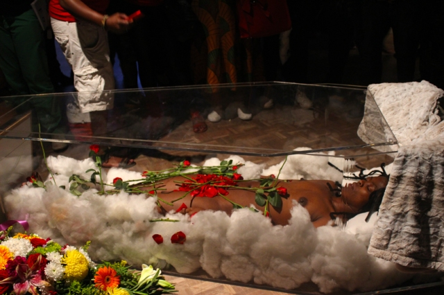 Muholi in a custom made coffin. Photo by Bongi 'Thekwane' Mphisholo (2014/02/14)