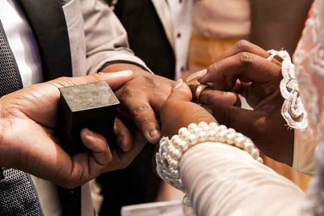 Changing vows.  Ayanda & Nhlanhla Moremi's wedding. Kwanele Park, Katlehong, 9 November 2013