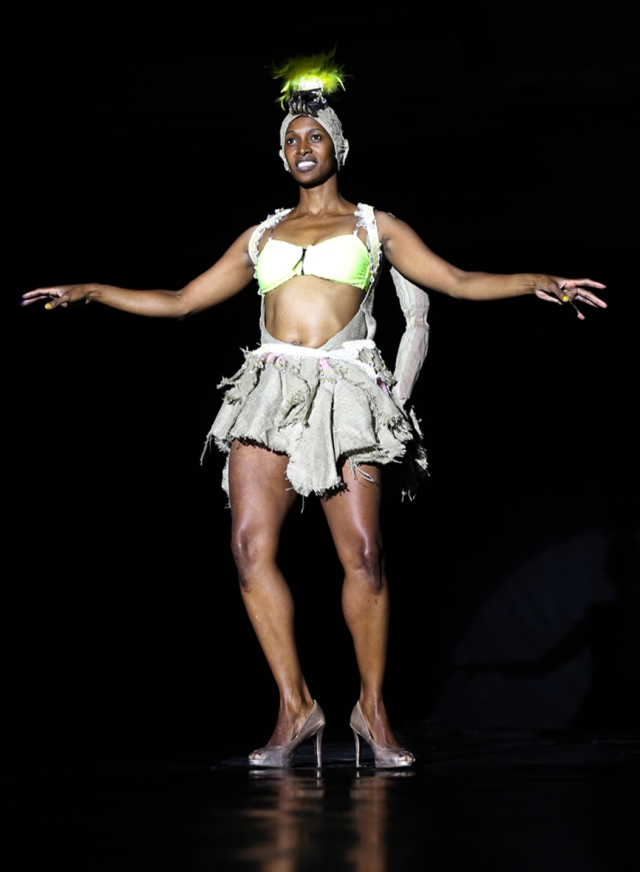 Mamela Nyamza rehearsing her new dance piece at Studio 44  (2014 March 26)