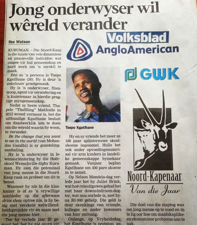 ... article as published in Volksblad, Monday 12 May 2013 and Kalahari Bulletin Thursday, 15 May 2014