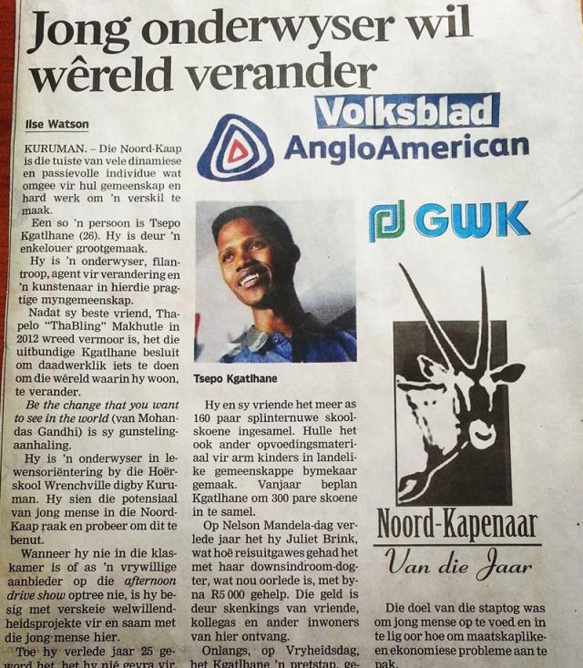 ... article as published in Volksblad, Monday 12 May 2013 and Kalahari Bulletin Thursday, 15 May 2014