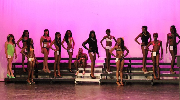2014 May 17 The girls in their swim wear with Mr Carter performing CB's song - Don't wake me up