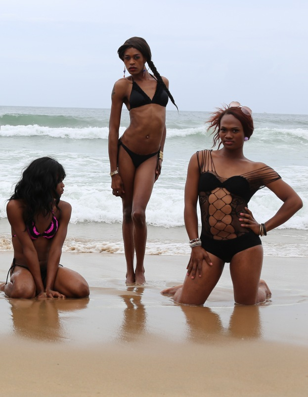 Candice centered by Le and Mini at Durban South Beach in Dec. 2013