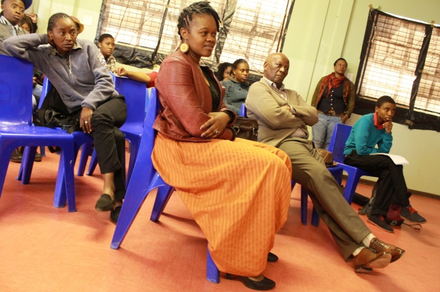 L-R:  Phumla, Nonkululeko and Mfundi, far right Lindeka listening to one of the presenters attentively...