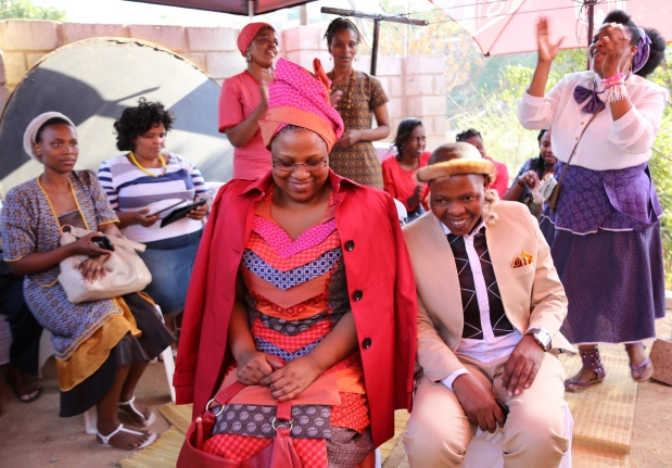 L-R:  Our lovely couple Vuyisile Tshabalala and Happy Mchunu on their festive occasion... attended by supportive families and friends...
