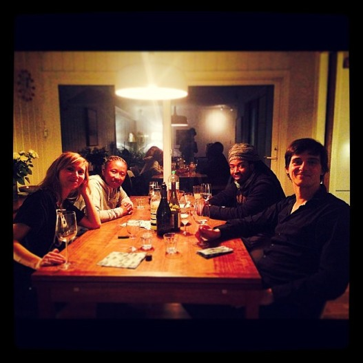 2015 Feb. 14 At dinner with Rikke, Simon, Themba and Sicka. Photo by Zanele Muholi