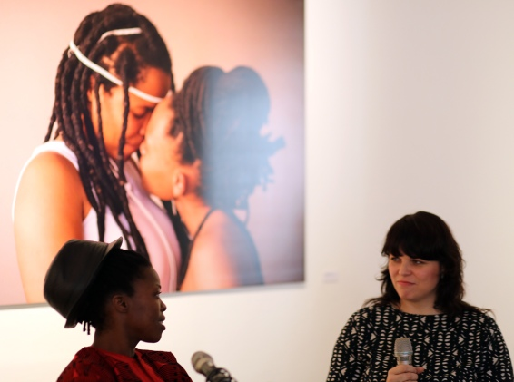 2015 Feb. 21 Muholi in conversation with Kjersti. Photo by Shaz 'Sicka' Mthunzi in Oslo.