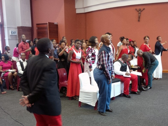 Congregants at VMCI - Durban moving to worshipping song.  Photo by Charmain Carrol (2015/02/15)