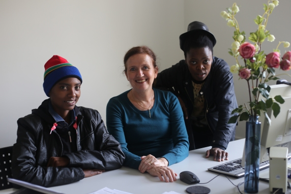 2015 Mar.12:  L-R Lerato Dumse, Angela Kaya (Director at Goethe Institut - London) and Zanele Muholi.