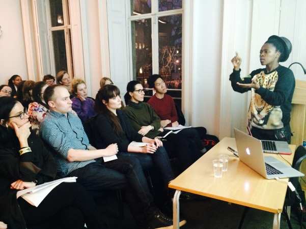 2015 Mar.13 Muholi presenting her work to students and allies  UCL,  UK. Photo by Lerato Dumse