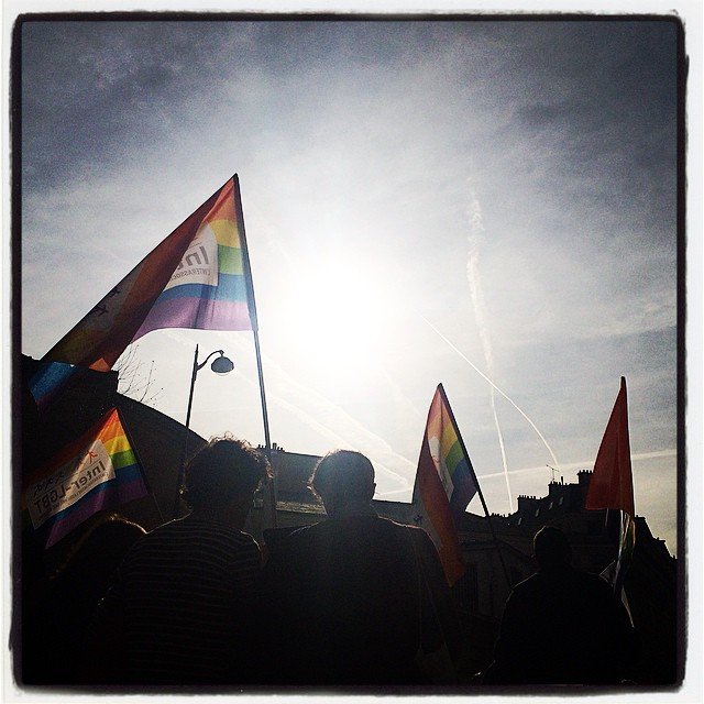 the rainbow flag at Paris Iinternational Women s day march