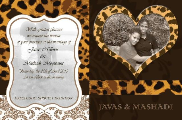 Invitation card of Javas and Mashadi's upcoming wedding