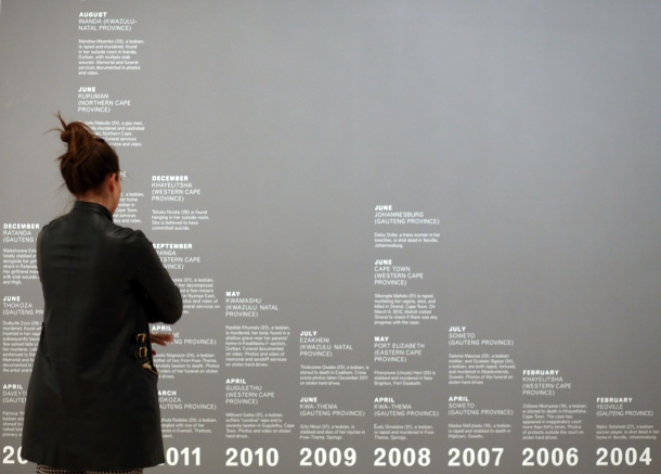 Hate crime timelines on the walls of Brooklyn Museum