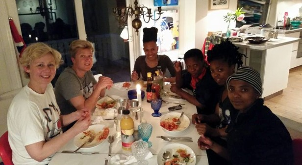 One of our dinner dates with our lovely friends, Henriette and Vibeke...