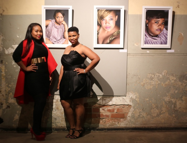 Charmain Carrol and Diva Desire at the exhibition opening of Chubby Vogue Divas... Photo by Lindeka Qampi
