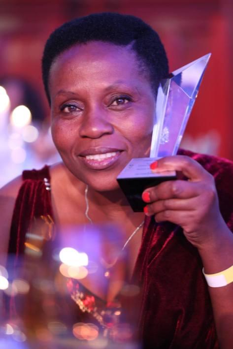 Lindeka in a celebratory mood... Photo by Terra Dick