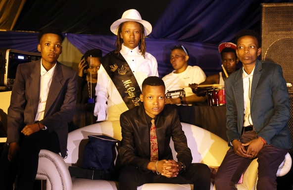 From L-R: Refilwe Pitso, Vuvu Mtsweni (seated in front) and Lebo Magaela. Sicka Mthunzi (standing at the back) after the crowning of the 2015 Mr Lesbian Daveyton. Photo by Lineka Qampi