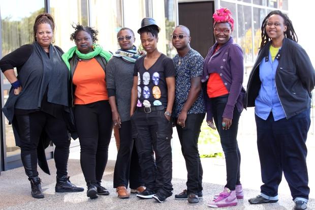 L-R: Samiya, Rosamond, Dora, Muholi, Ola, Yvonne and Kagendo. © Lerato Dumse (2015/10/11)