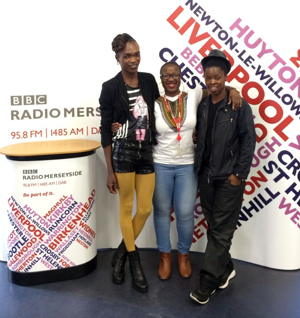 L-R: After the interview, Somizy Sincwala with Ngunan Adamu (Producer/Presenter for BBC Radio Merseyside) and Muholi in Liverpool, UK.