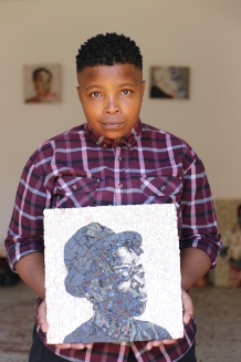 Muholi's mosaic portrait done by Ziyanda in 2014